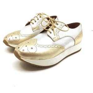 Pantofi casual din piele naturala- Mostra Auriu Argintiu