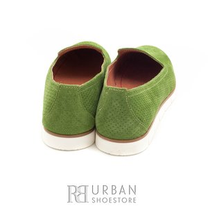 Pantofi casual din piele naturala nabuc - 024-B38 verde