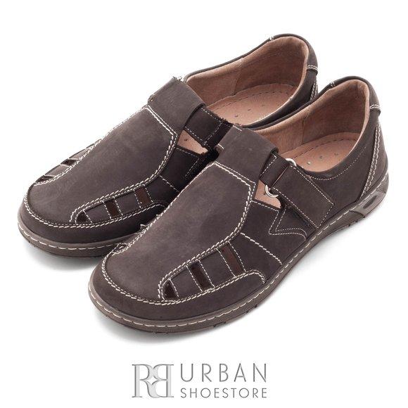 Pantofi casual din piele naturala nabuc - 140 maro