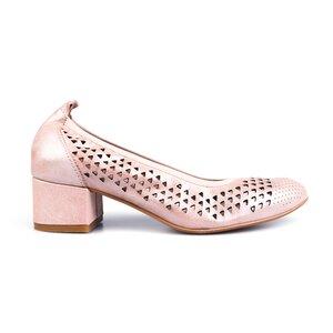 Pantofi casual perforati cu toc dama din piele naturala, Leofex - 248 Nude Metalizat