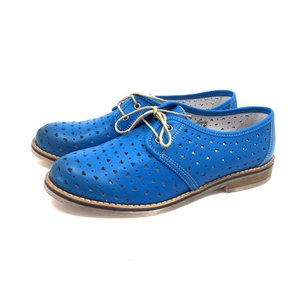 Pantofi casual perforati din piele naturala Leofex - 406-2 Blue Box