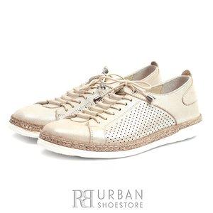 Pantofi casual - sport dama din piele naturala - 713 Bej Box Sidefat