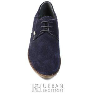 Pantofi  copii din piele naturala,Leofex - 578 blue velur