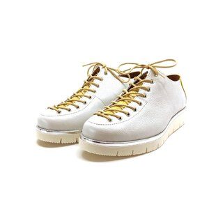 Pantofi casual dama cu siret pana in varf din piele naturala,Leofex- 194 -2 alb + galben box