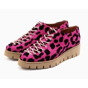 Pantofi casual dama cu siret pana in varf din piele naturala,Leofex - 194 fuxia velur