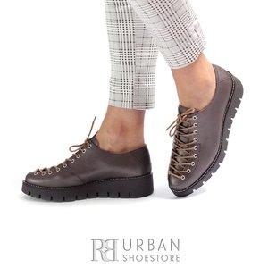 Pantofi cu siret pana in varf Leofex- 194 Maro Sidefat