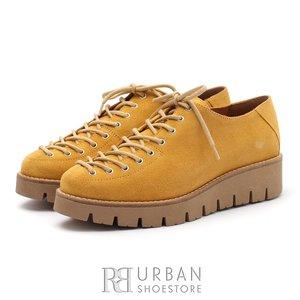 Pantofi cu siret pana in varf Leofex- 194 Mustar Velur