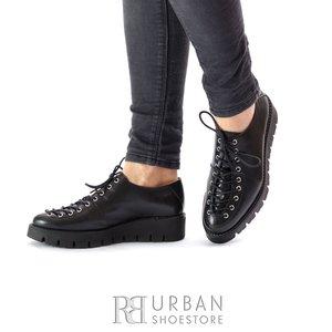 Pantofi cu siret pana in varf Leofex- 194 Negru Box