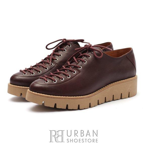 Pantofi cu siret pana in varf Leofex- 194 Visiniu Box