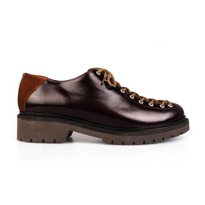 Pantofi cu siret pana in varf Leofex- 561 Visiniu