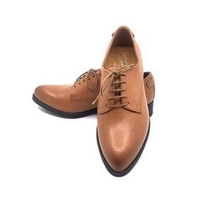 Pantofi cu siret si varf ascutit Leofex - 432 Cognac Box