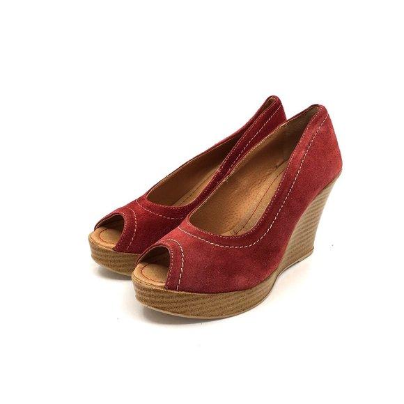 Pantofi dama casual cu platforma Leofex- 531 Rosu Velur