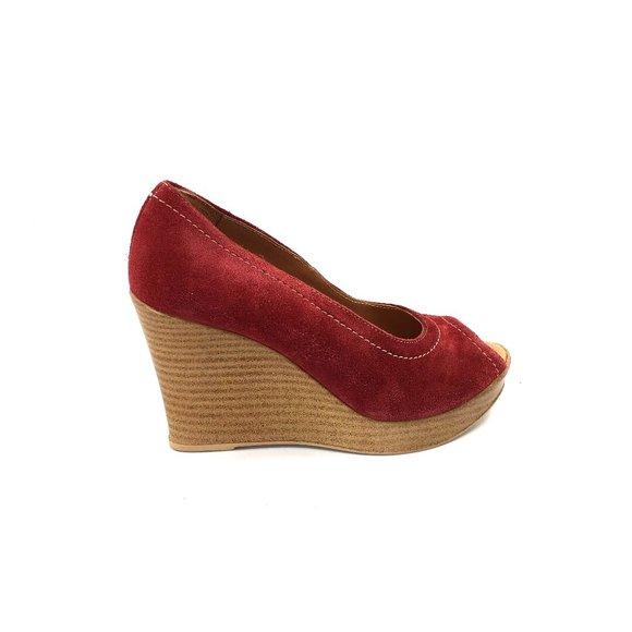 pantofi ieftin cea mai recentă extrem de elegant Pantofi dama casual cu platforma Leofex- 531 Rosu Velur