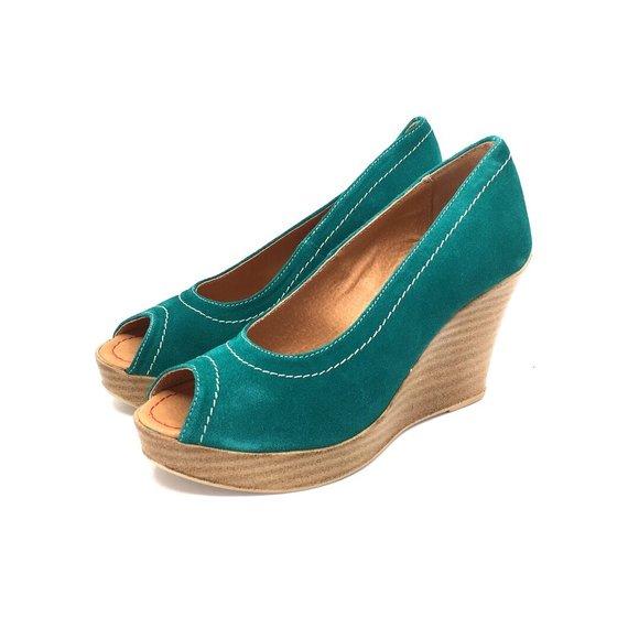 Pantofi dama casual cu platforma Leofex- 531 Verde Velur
