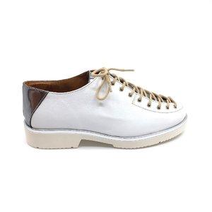 Pantofi dama casual cu siret pana in varf Leofex- 194-1 Alb Argintiu Box
