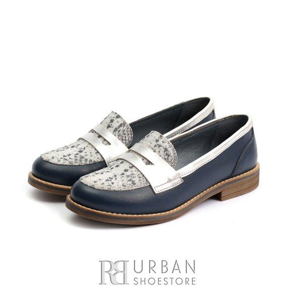Pantofi dama casual din piele naturala - 188 Blue Box