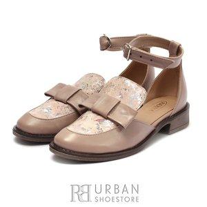 Pantofi dama casual din piele naturala - 1928  Taupe Flori