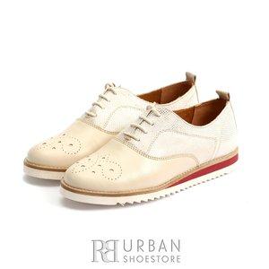 Pantofi dama casual din piele naturala - 230 Crem cu Auriu Box