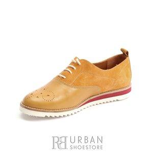 Pantofi dama casual din piele naturala - 230 Galben Box cu Velur