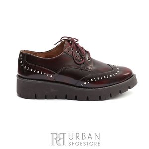 Pantofi dama casual din piele naturala Leofex- 096 Visiniu Florantic