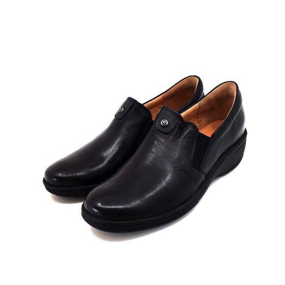 Pantofi dama casual din piele naturala Leofex - 098 Negru box