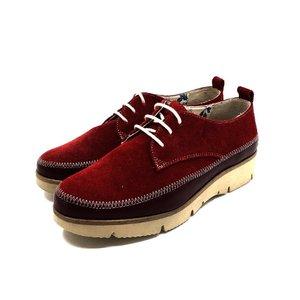 Pantofi dama casual din piele naturala Leofex-198 Visiniu Velur