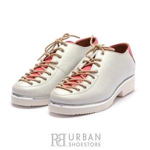 Pantofi dama cu siret pana in varf Leofex- 194-1 Alb Roz Box