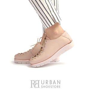 Pantofi dama cu siret pana in varf Leofex- 194-1 Roz  Sidefat Presat