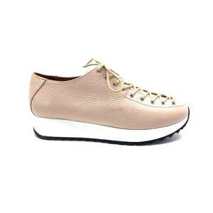 Pantofi casual dama cu siret pana in varf din piele naturala,Leofex- 194-2 Nude box sidefat