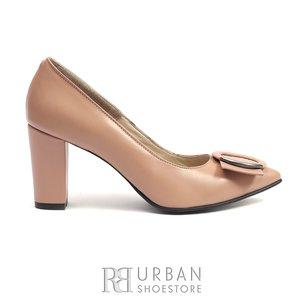 Pantofi dama cu varf ascutit din piele naturala- 1918 Nude