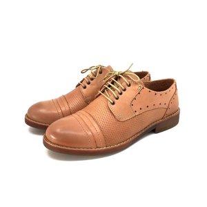 Pantofi dama derby din piele naturala Leofex- 094 Capuccino