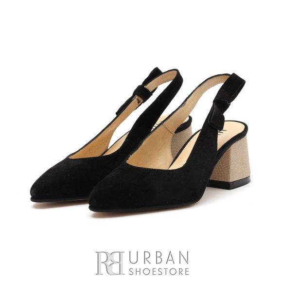 Pantofi dama din piele intoarsa - 626-3 CN Negru Velur