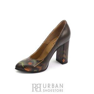 Pantofi dama din piele naturala cu motiv traditional - 22 Maro Box