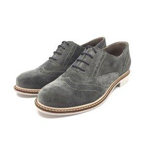 Pantofi de tip Derby din piele intoarsa - Mostra Gri Velur
