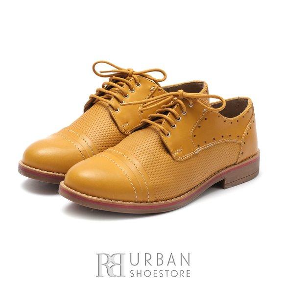 Pantofi derby dama din piele naturala Leofex-  094 Mustar