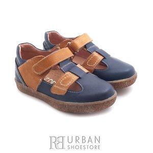 Pantofi din piele naturala – 120-1 albastru camel box