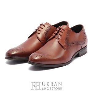 Pantofi eleganti barbati din piele naturala Leofex -512 Cognac Box
