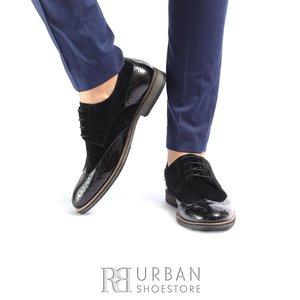 Pantofi eleganti barbati din piele naturala, Leofex- 514 Negru Florantic velur