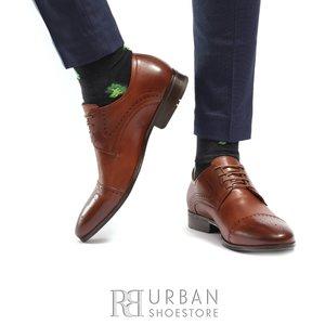 Pantofi eleganti barbati din piele naturala, Leofex - 529  Cognac box
