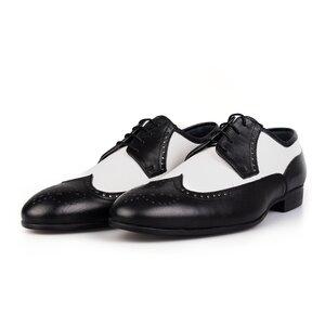 Pantofi eleganti barbati din piele naturala Leofex-Mostra Chaplin Negru cu Alb Box