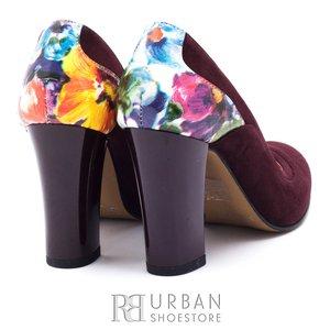 Pantofi eleganti dama din piele naturala - 1695-102 Visiniu Flori velur