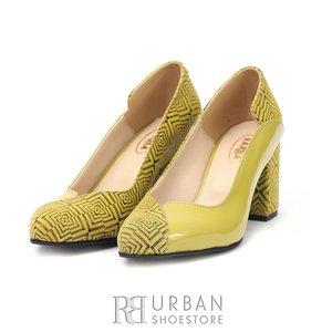 Pantofi eleganti dama din piele naturala  - 1803 Verde Lac cu Velur