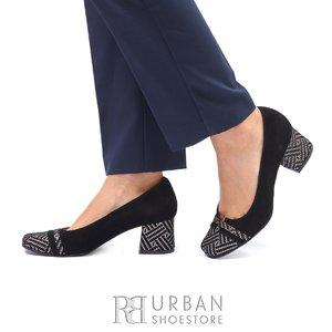 Pantofi eleganti dama din piele naturala - 1804 Negru Mozaic velur