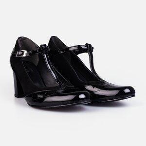 Pantofi  eleganti dama din piele naturala - 181 negru lac velur