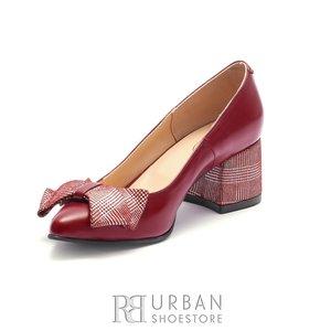Pantofi eleganti dama din piele naturala  - 1996-1 Visiniu Box