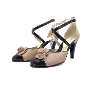 Pantofi eleganti dama din piele naturala - 3 Cappuccino negru box lac