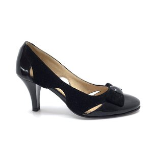 Pantofi eleganti dama din piele naturala - 425 negru lac velur