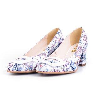 Pantofi eleganti dama din piele naturala  - 450 alb flori