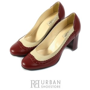 Pantofi eleganti dama din piele naturala - 797-4 visiniu-crem