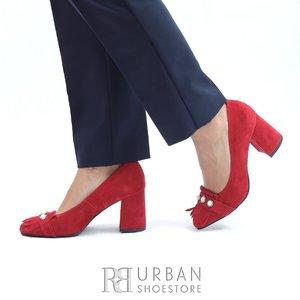 Pantofi eleganti dama din piele naturala  cu franjuri- 0490-5 Rosu Velur